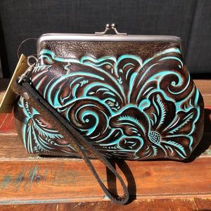 Patricia Nash Leather Tooled Snap Frame Bag NWT
